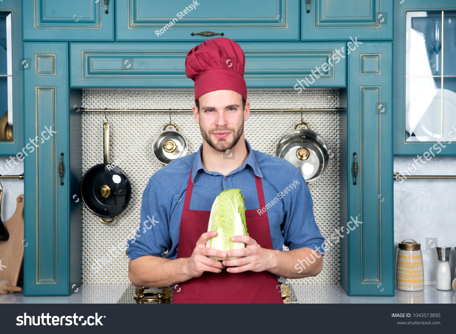 Cook Man Hold Chinese Cabbage Kitchen Stock Photo (Royalty Free ...