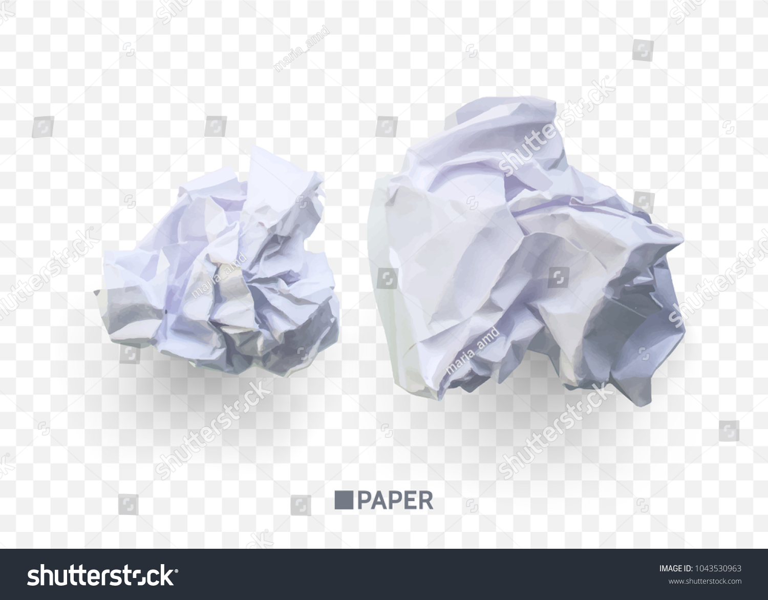 crumpled paper ball isolated on transparent stock vector (royalty