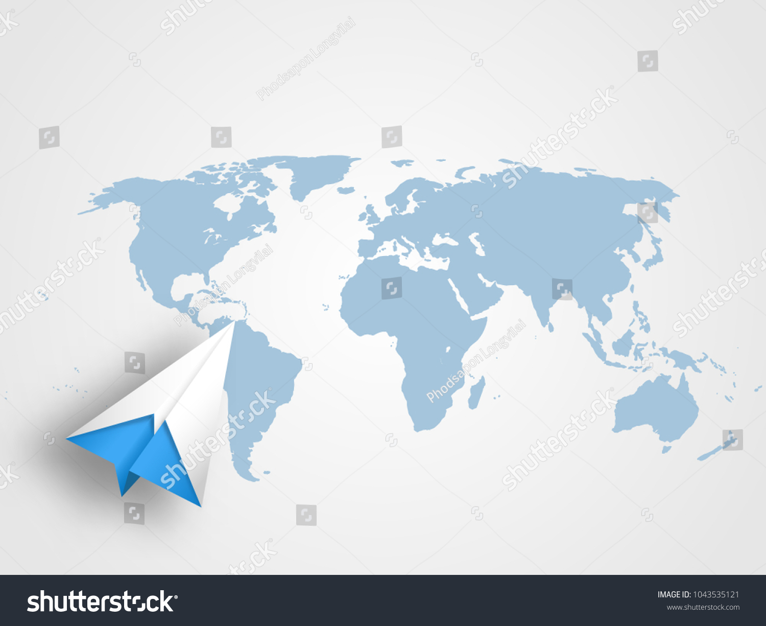Origami airplane on world map background stock vector 1043535121 origami airplane on world map background stock vector 1043535121 shutterstock gumiabroncs Choice Image