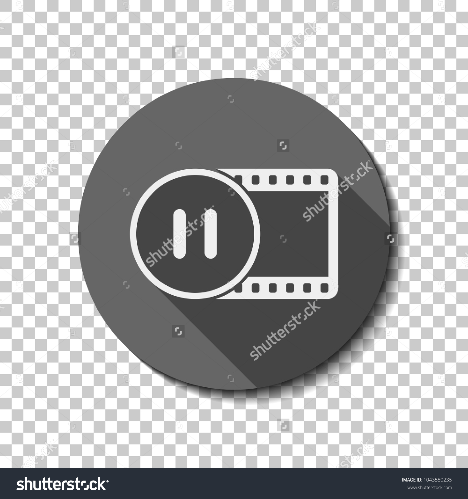 Movie strip pause symbol circle simple stock vector 1043550235 movie strip with pause symbol in circle simple silhouette white flat icon with long buycottarizona Images