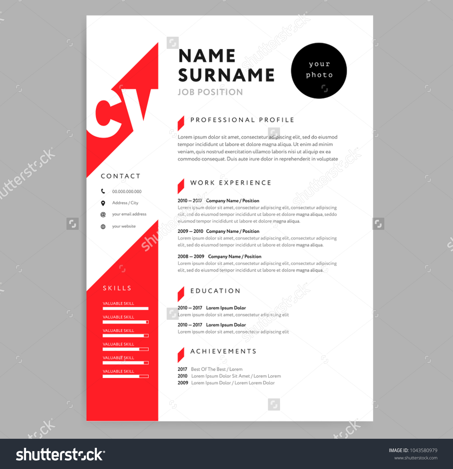 Creative Cv Resume Template Red Color Stock Vector Royalty Free