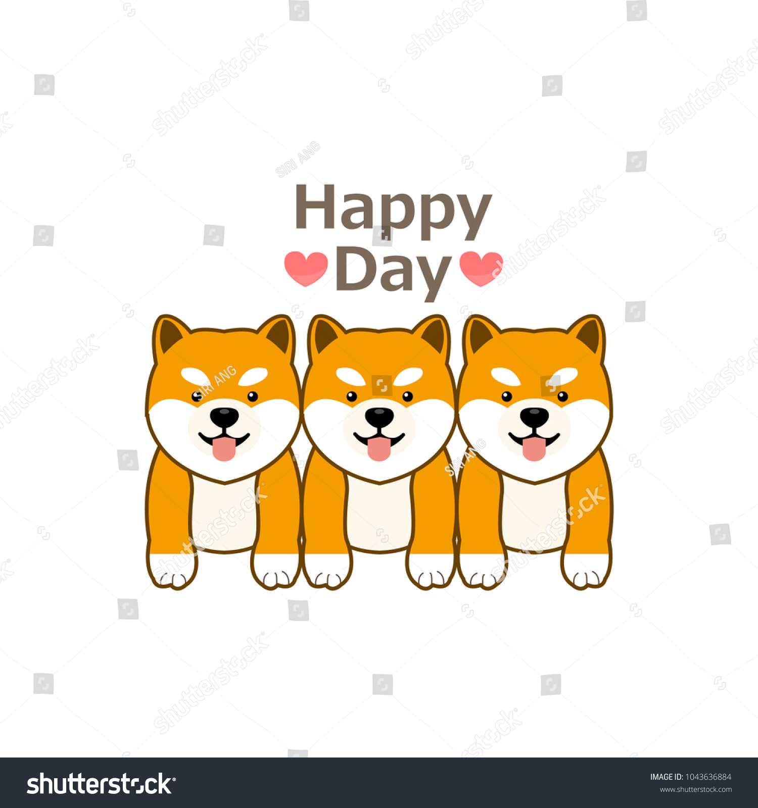 happy day shiba inu puppy sit stock vector royalty free 1043636884