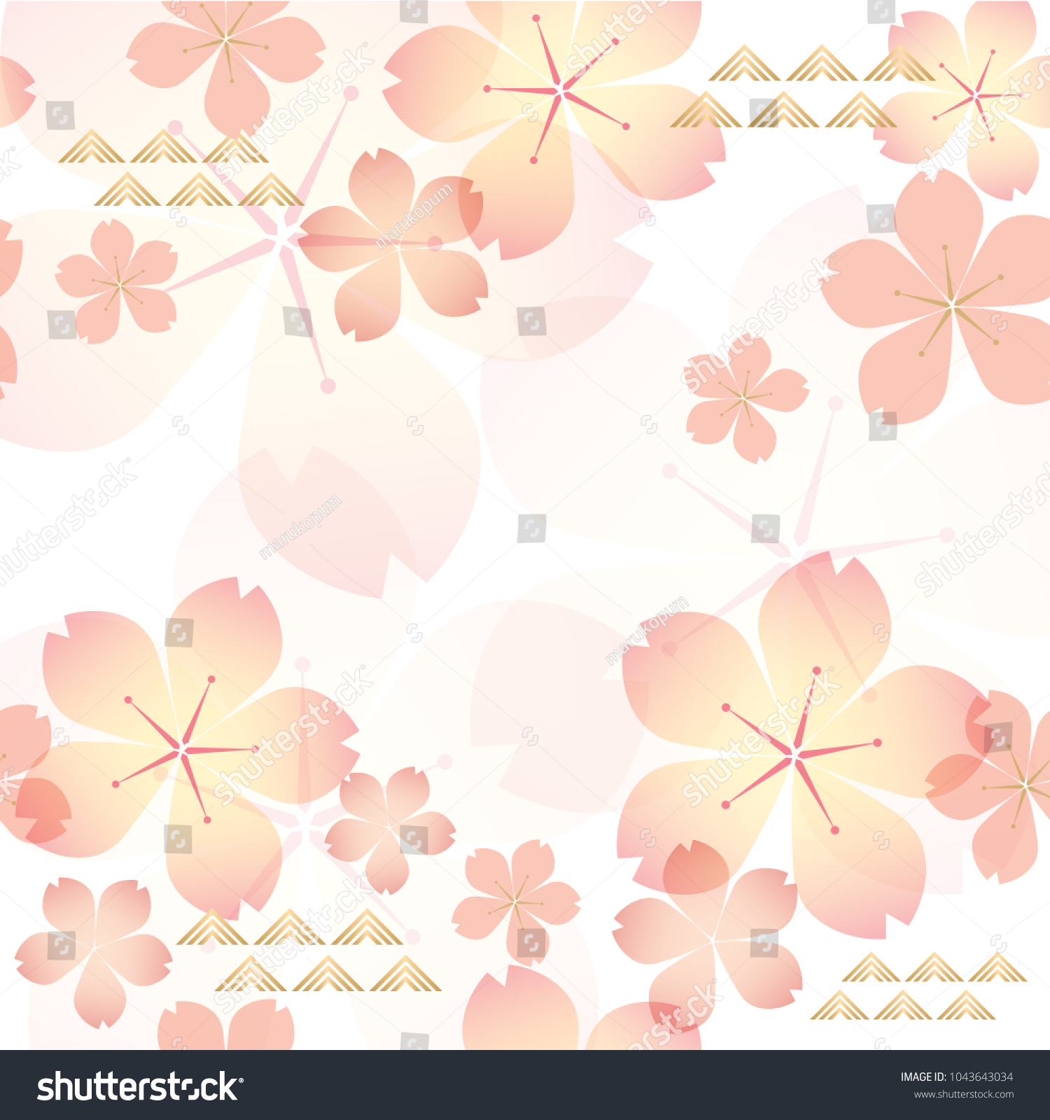 Cherry Blossom Pattern Vector Pink Floral Royalty Free Stock Image