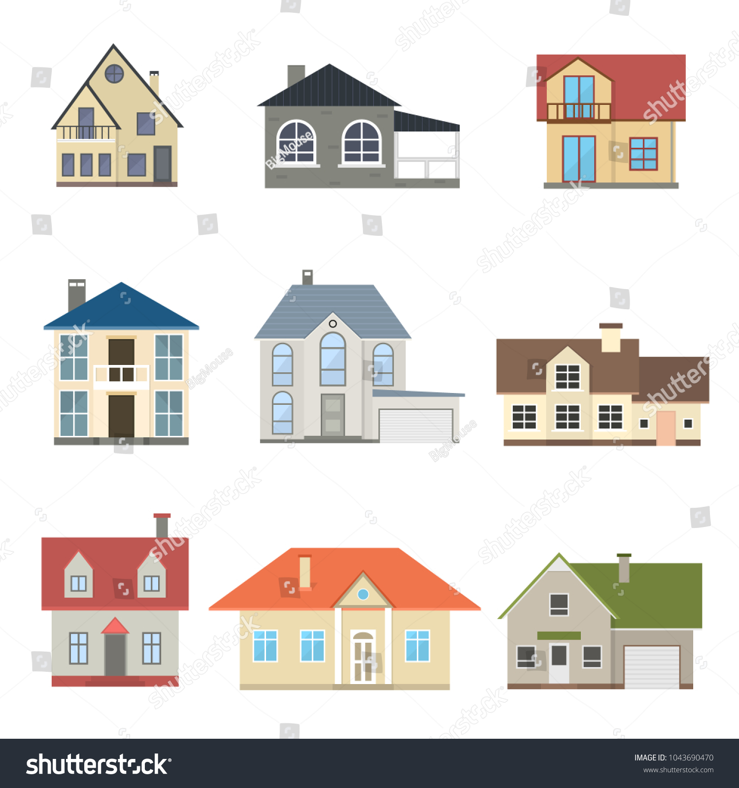 Cartoon Houses Exterior Front Set Different Stock Vector HD (Royalty ...