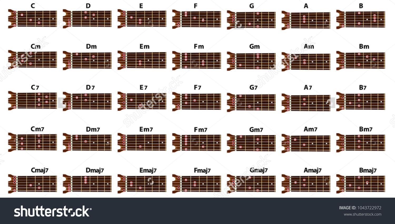 Set Vector Guitar Chords Tab Tabulation Finger Stock Vector Royalty