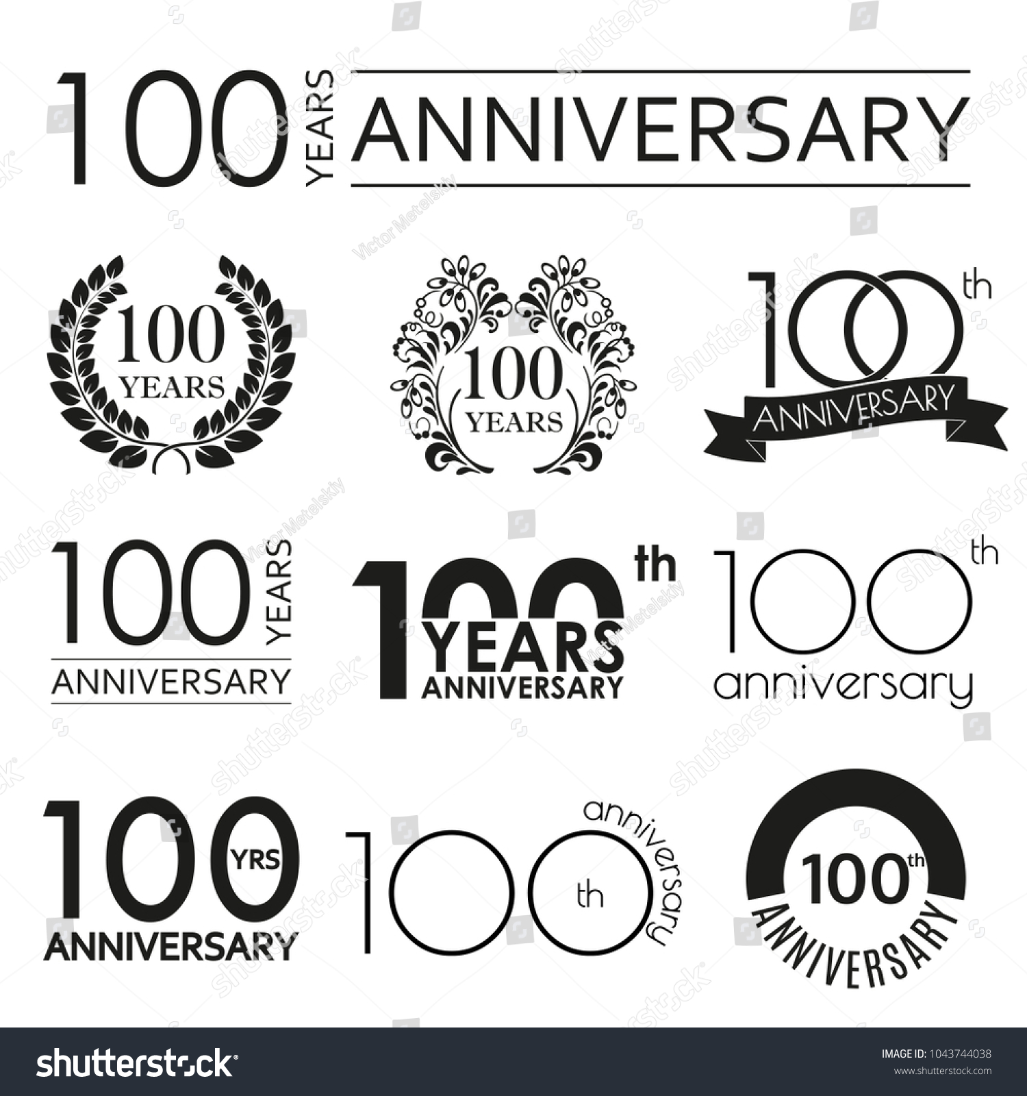 100 years anniversary icon set 100th のベクター画像素材