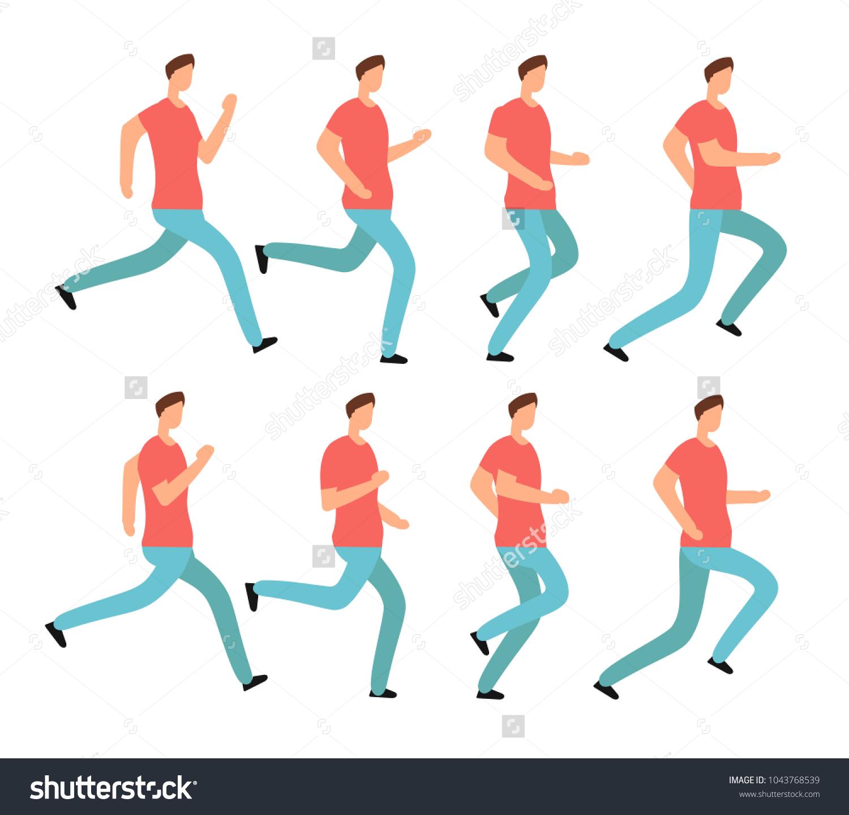 Cartoon Running Man Casual Clothes Young Stock Vector (2018 ...