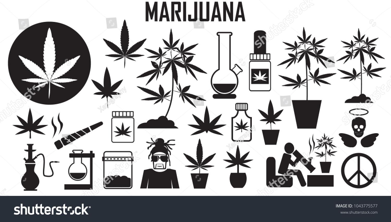 Marijuana cannabis leaf weed medical drug stock vector 1043775577 marijuana cannabis leaf weed medical drug flat icons mono vector biocorpaavc Choice Image