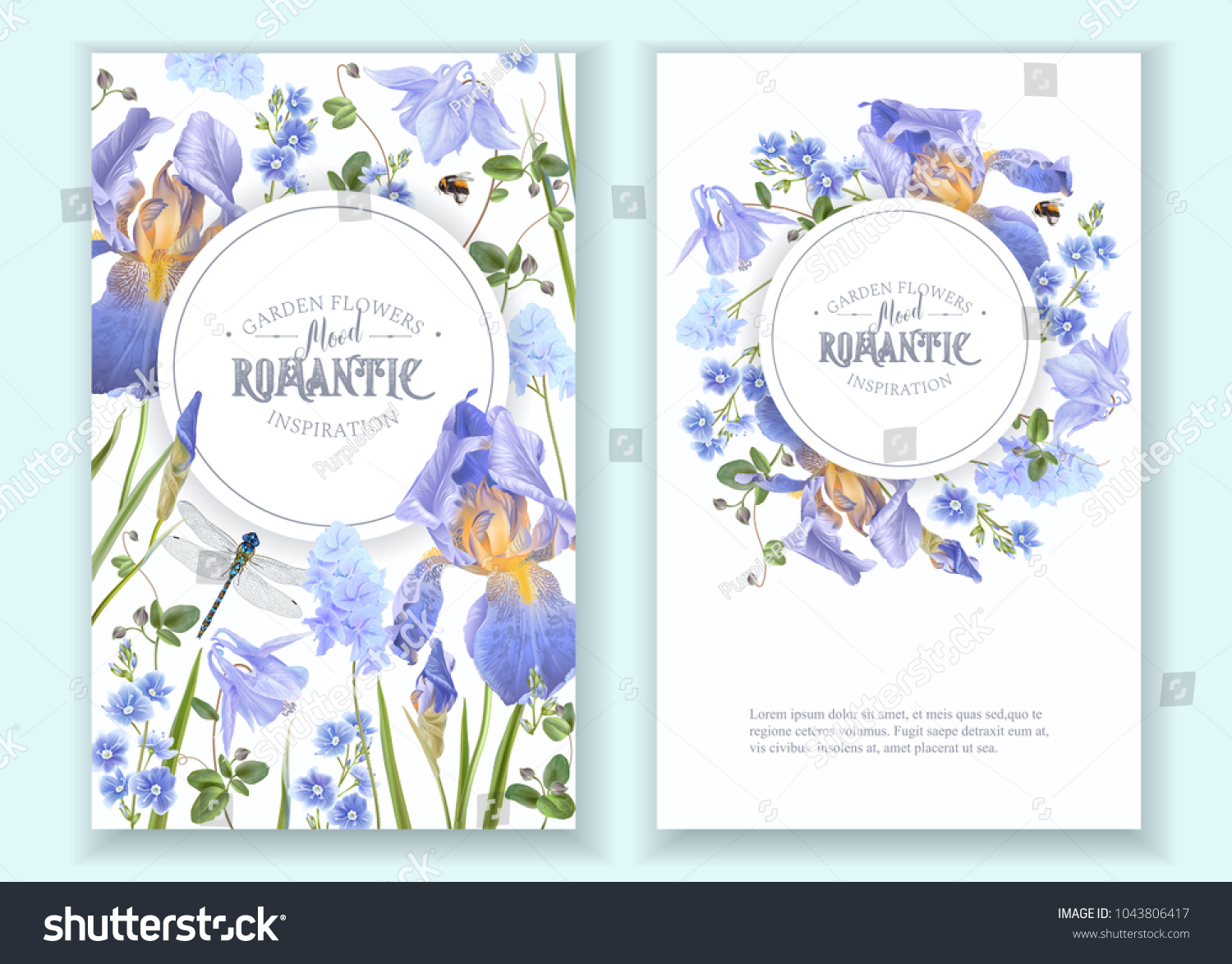 Vector Botanical Banners Blue Flowers Dragonfly Stock Vector ...