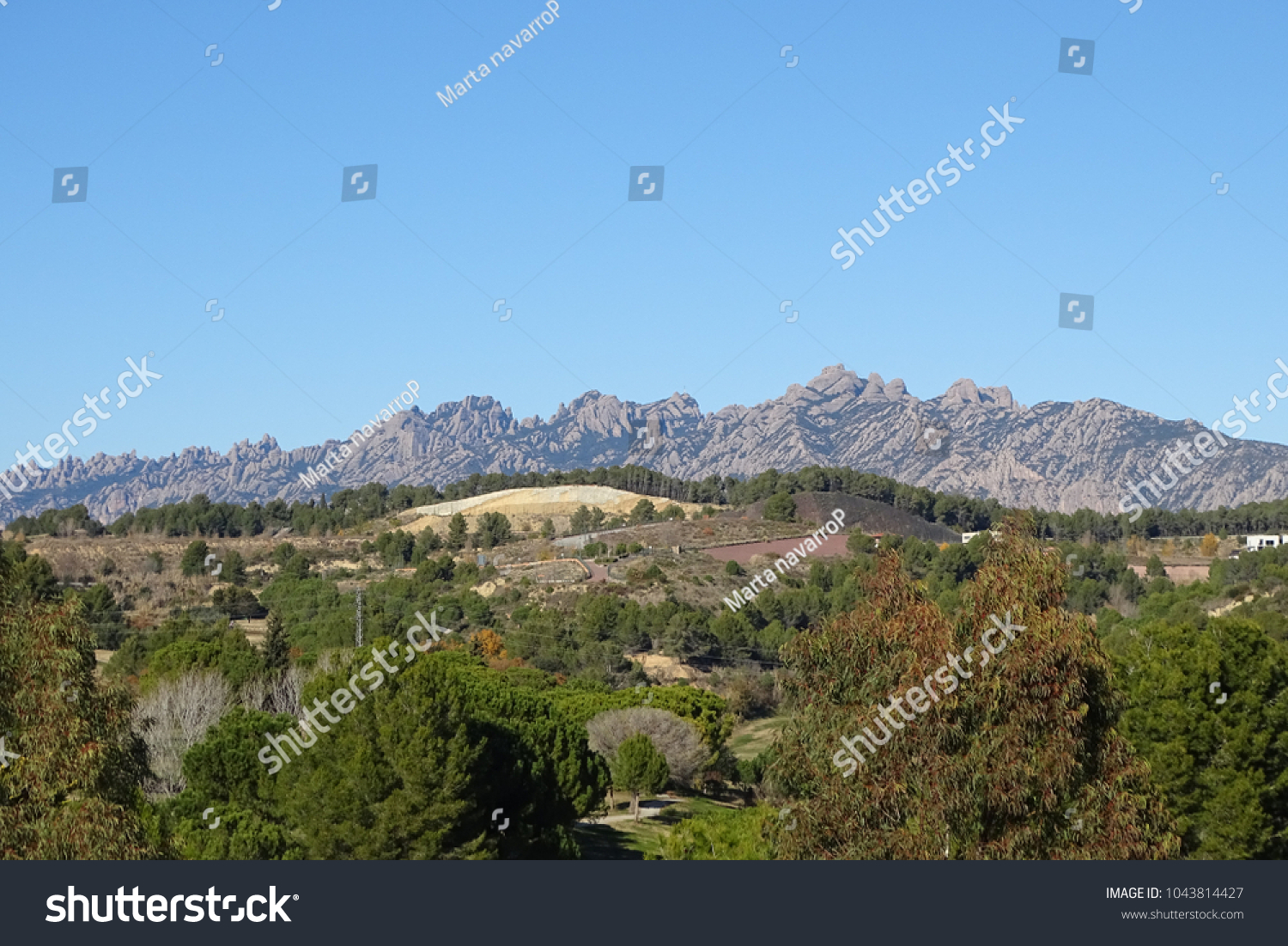 Montserrat Mountain Beautiful Landscape Catalonia Spain Stock