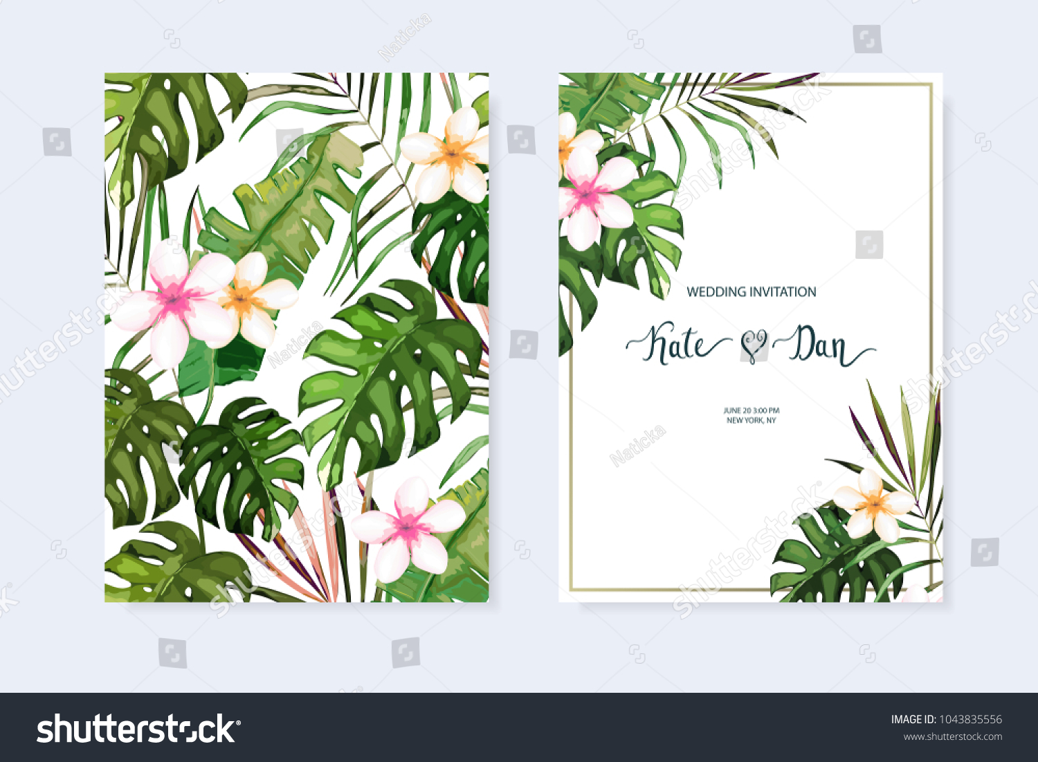 floral set wedding invitation save date stock vector 1043835556