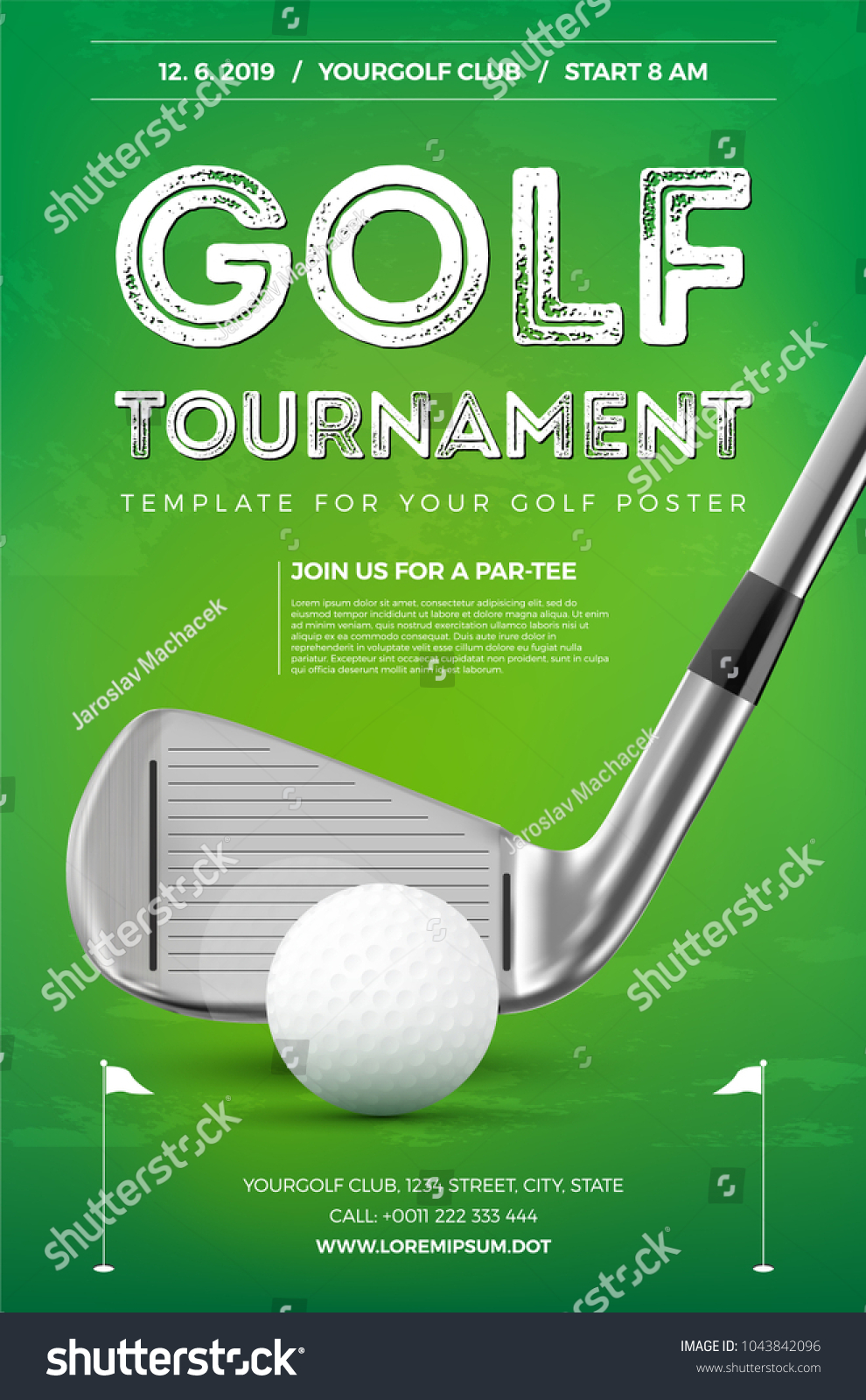 Golf tournament poster template with sample text in separate layer- vector illustration