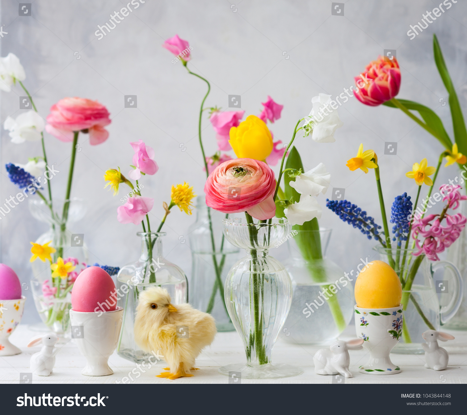 Beautiful Flowers Bouquets Glass Vases On Stock Photo (Safe to Use ...