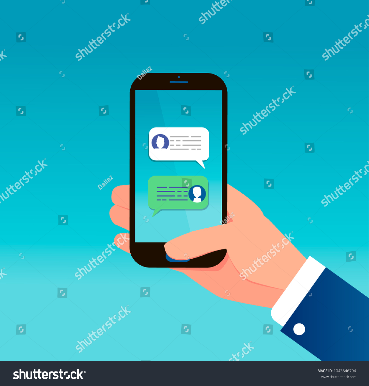 Hand Holding Smart Phone Text Message Stock Vector (Royalty