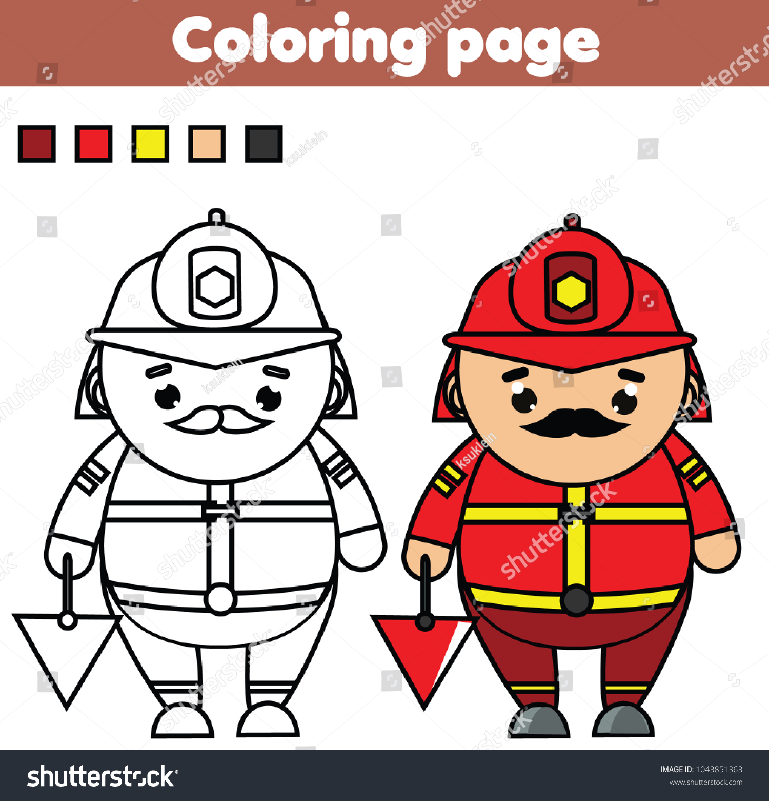 Fireman Coloring Page Color Picture Educational Stock Vector ...