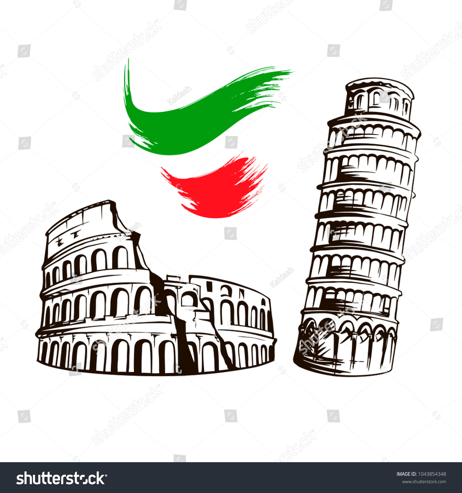 Italy Culture Symbols Italian Travel Famous Stock Vector Royalty