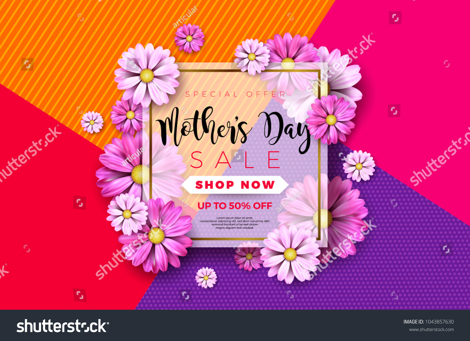 Happy Mothers Day Greeting Card Design Stock Vector Royalty Free
