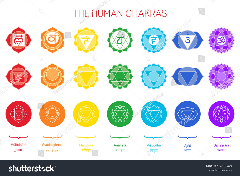 Human Chakras Set Color Sign White Stock Vector Royalty Free