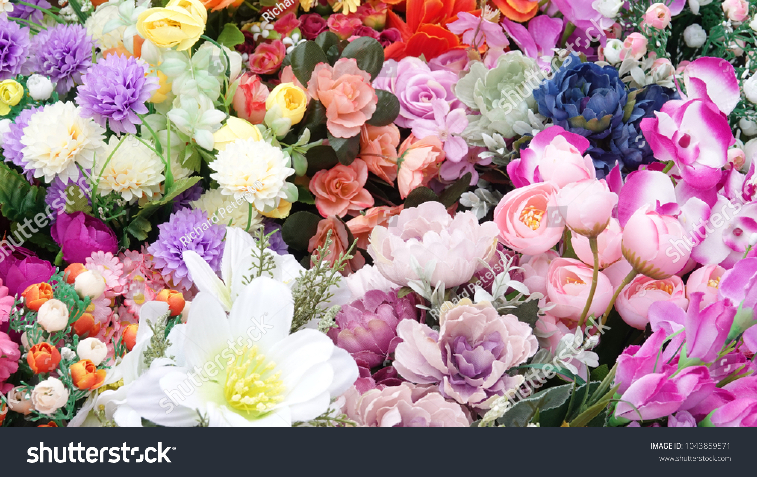 Artificial Flowers Colorful Bouquet Variety Synthetic Stock Photo
