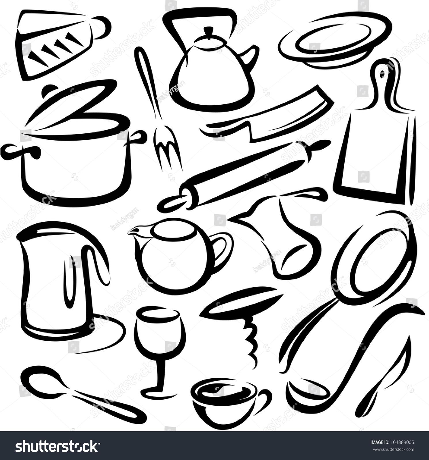 Big Set Kitchen Tools Vector Sketch Stock Vector