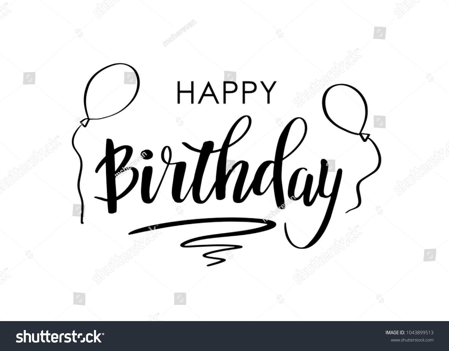 Happy birthday greeting card lettering design stock vector happy birthday greeting card with lettering design calligraphy text happy birthday and air balloons on kristyandbryce Image collections