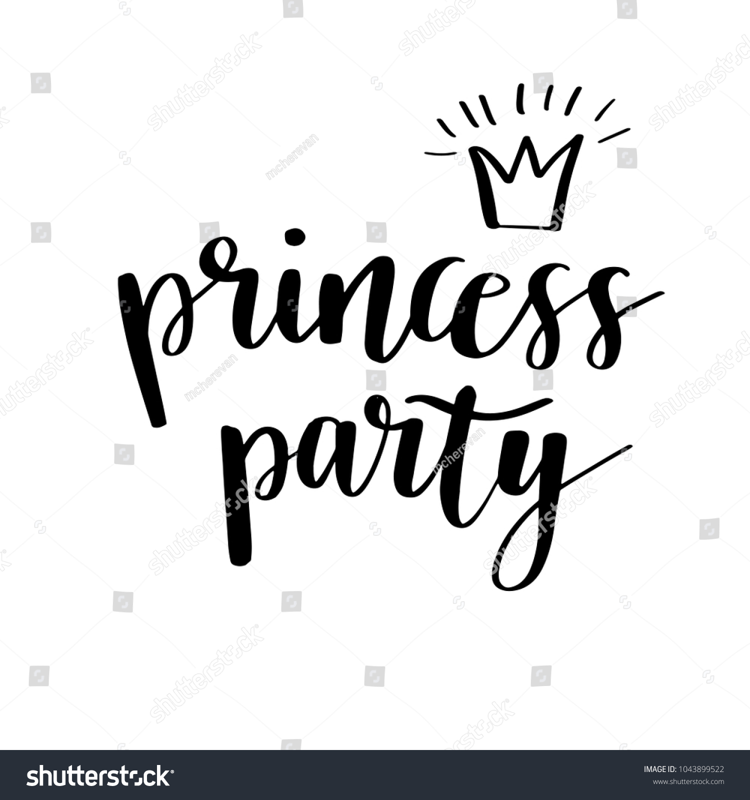 Princess Party Bridal Baby Shower Birthday Stock Vector (Royalty ...