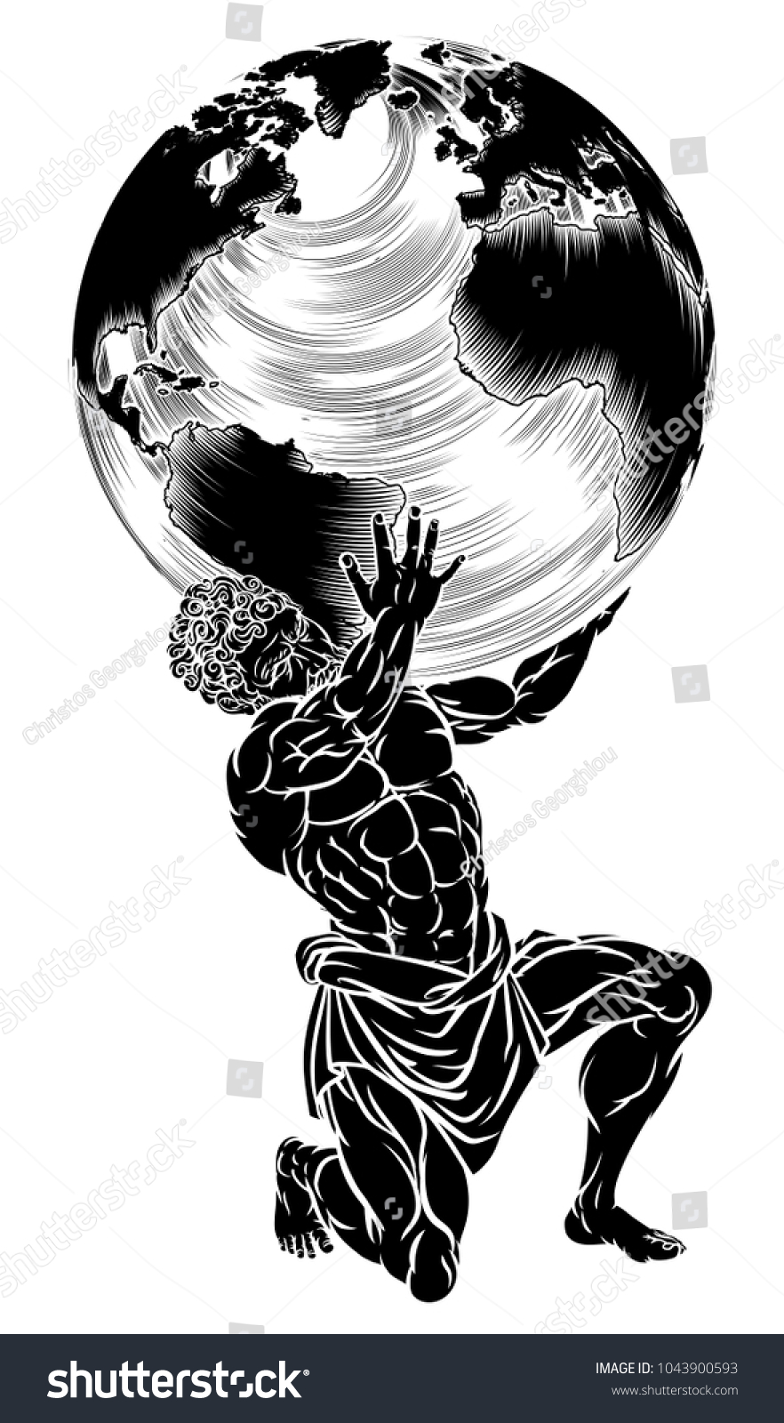 Atlas titan greek mythology symbol strength stock vector 1043900593 atlas titan from greek mythology symbol of strength sentenced by the gods to hold up the buycottarizona Images