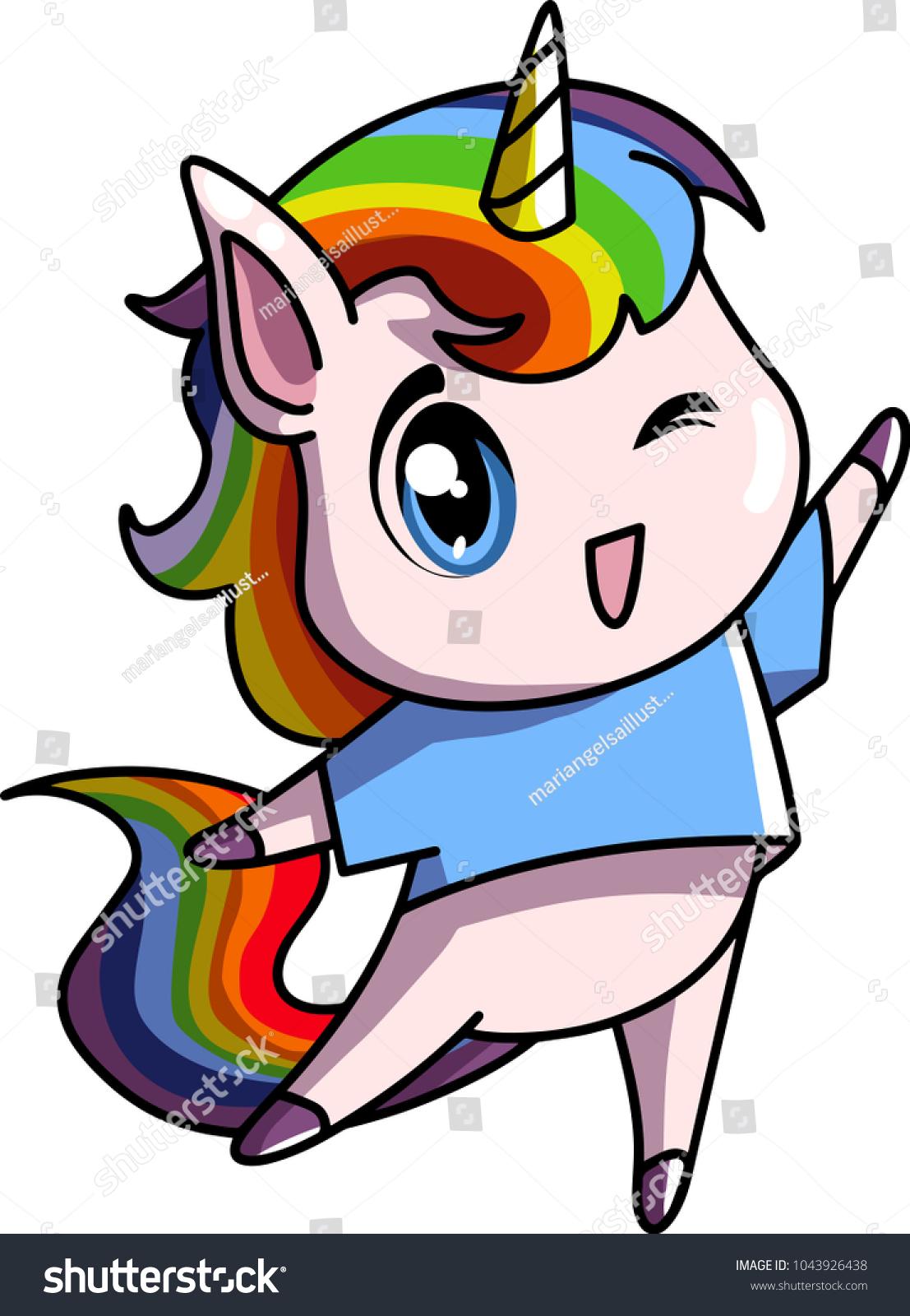 Little Chibi Cute Baby Unicorn Rainbow Hair Female Pastel Colors Vector Illustration