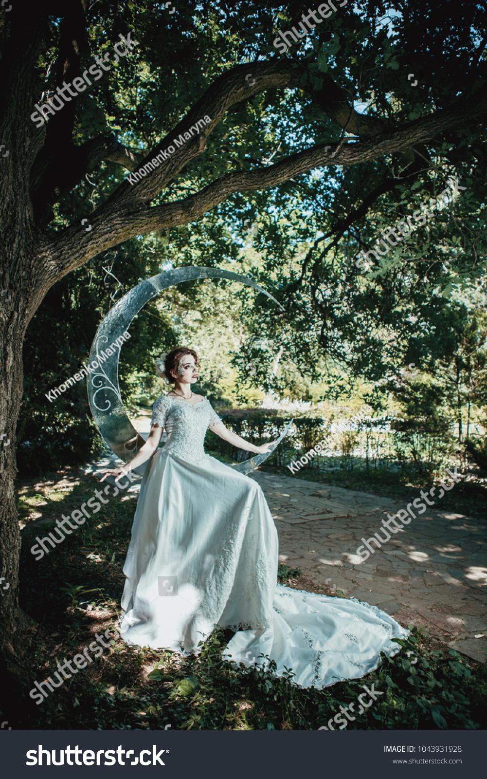Beautiful Lady Wedding Dress Standing Near Stock Photo (Royalty Free ...