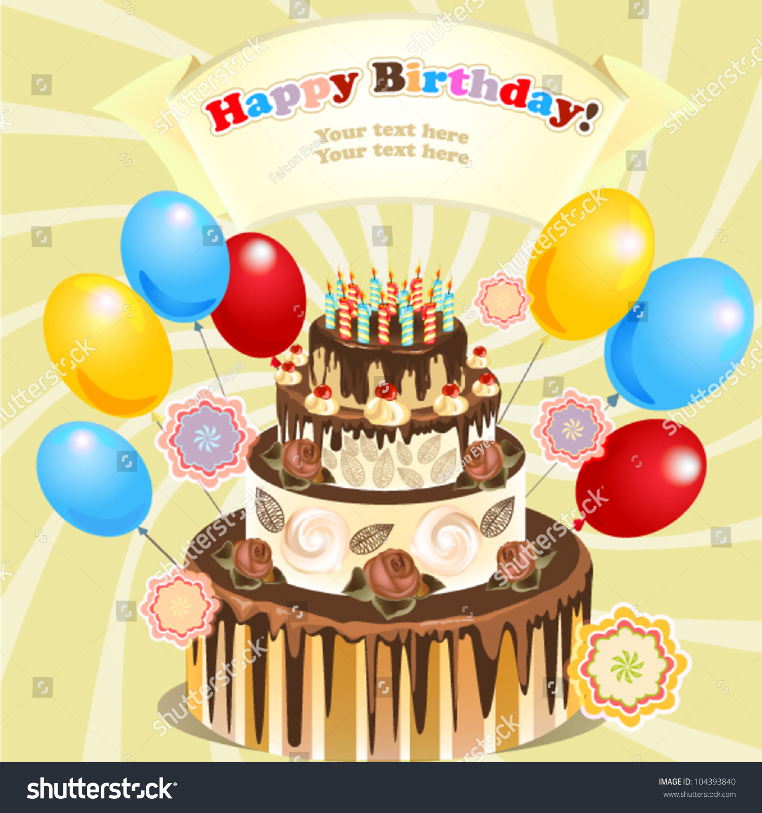 Big Cake With Candles And Balloons, Original Birthday Greeting Stock ...
