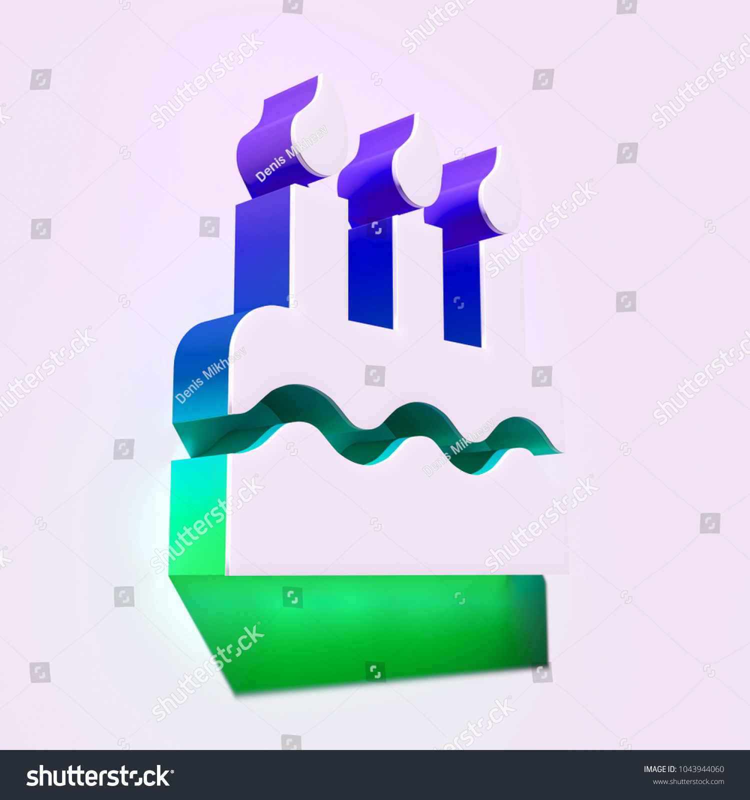 Royalty Free Stock Illustration Of White Birthday Cake Icon 3 D