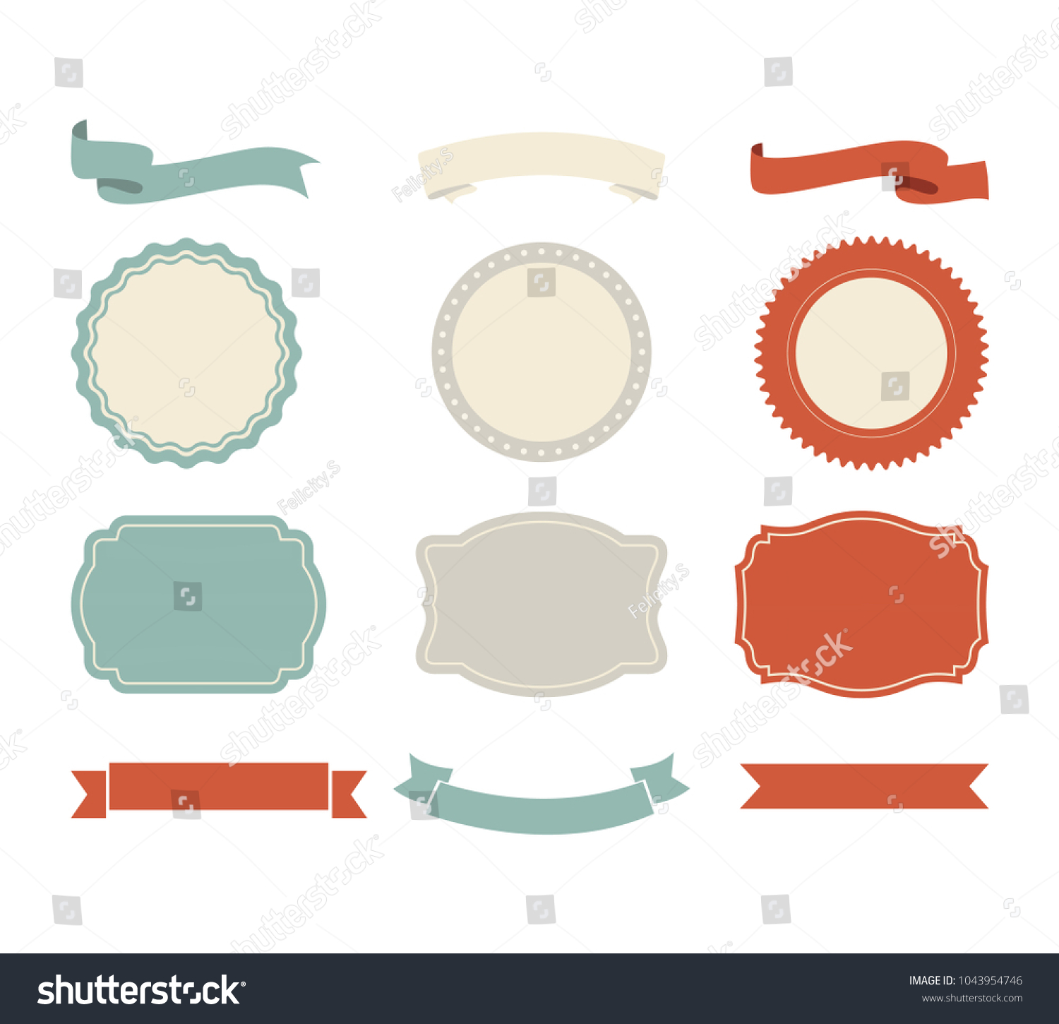 banner shape vector design ribbon label のベクター画像素材