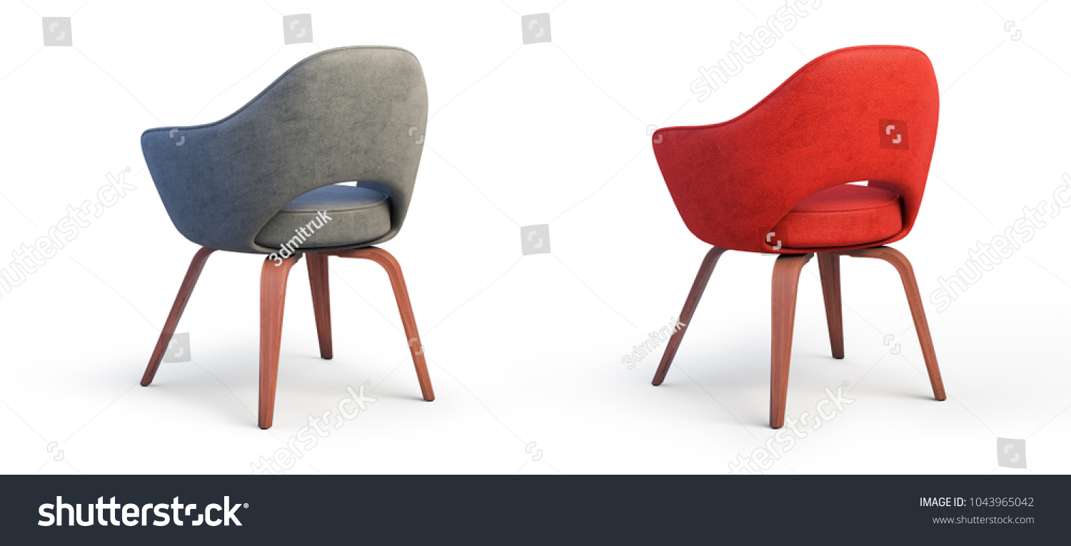 Modern Gray And Red Armchairs With Textile Seat And Wooden Legs On White  Background With Shadows