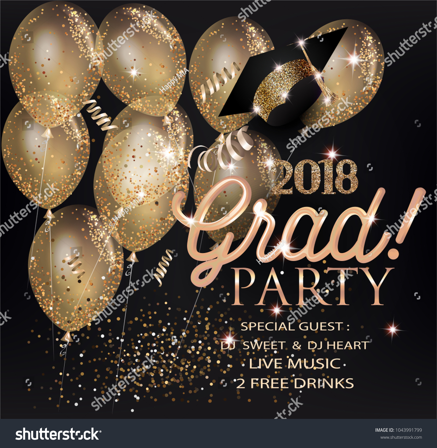 GRADUATION PARTY INVITATION CARD GOLD AIR Stock Vector (2018 ...