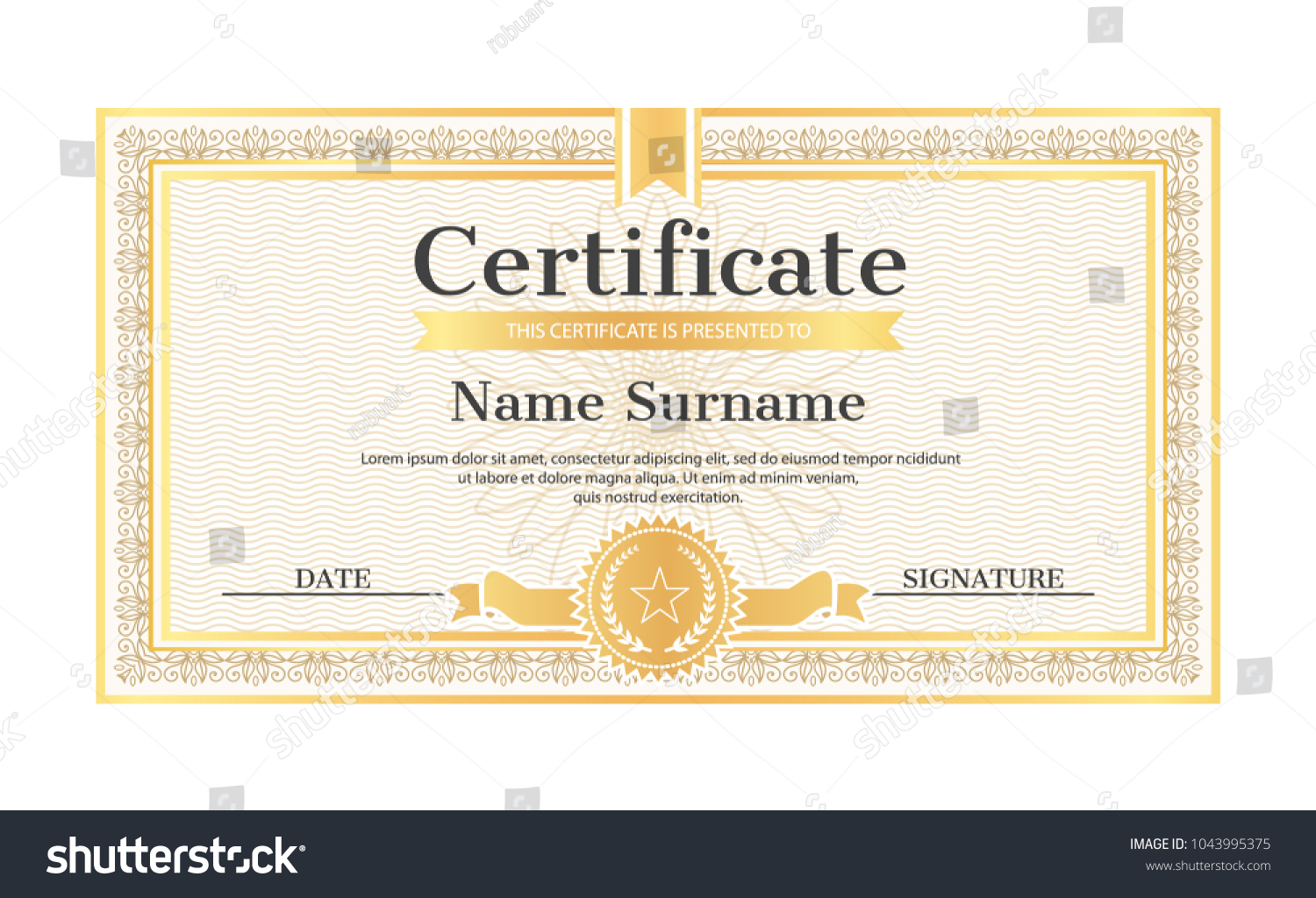 Certificate template editable name surname date stock photo photo certificate template editable name and surname date and signature realistic certificate sample in golden yelopaper Images