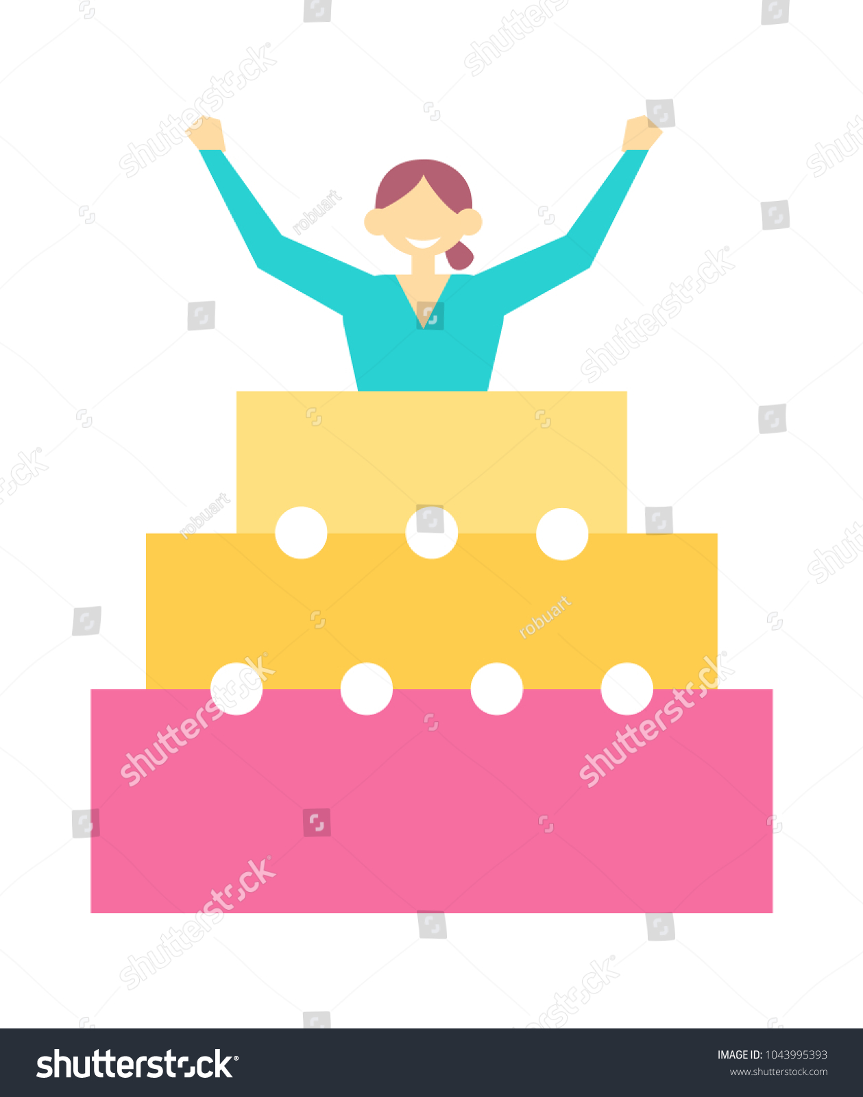 Woman Jump Out Birthday Cake On Stock Vector Royalty Free