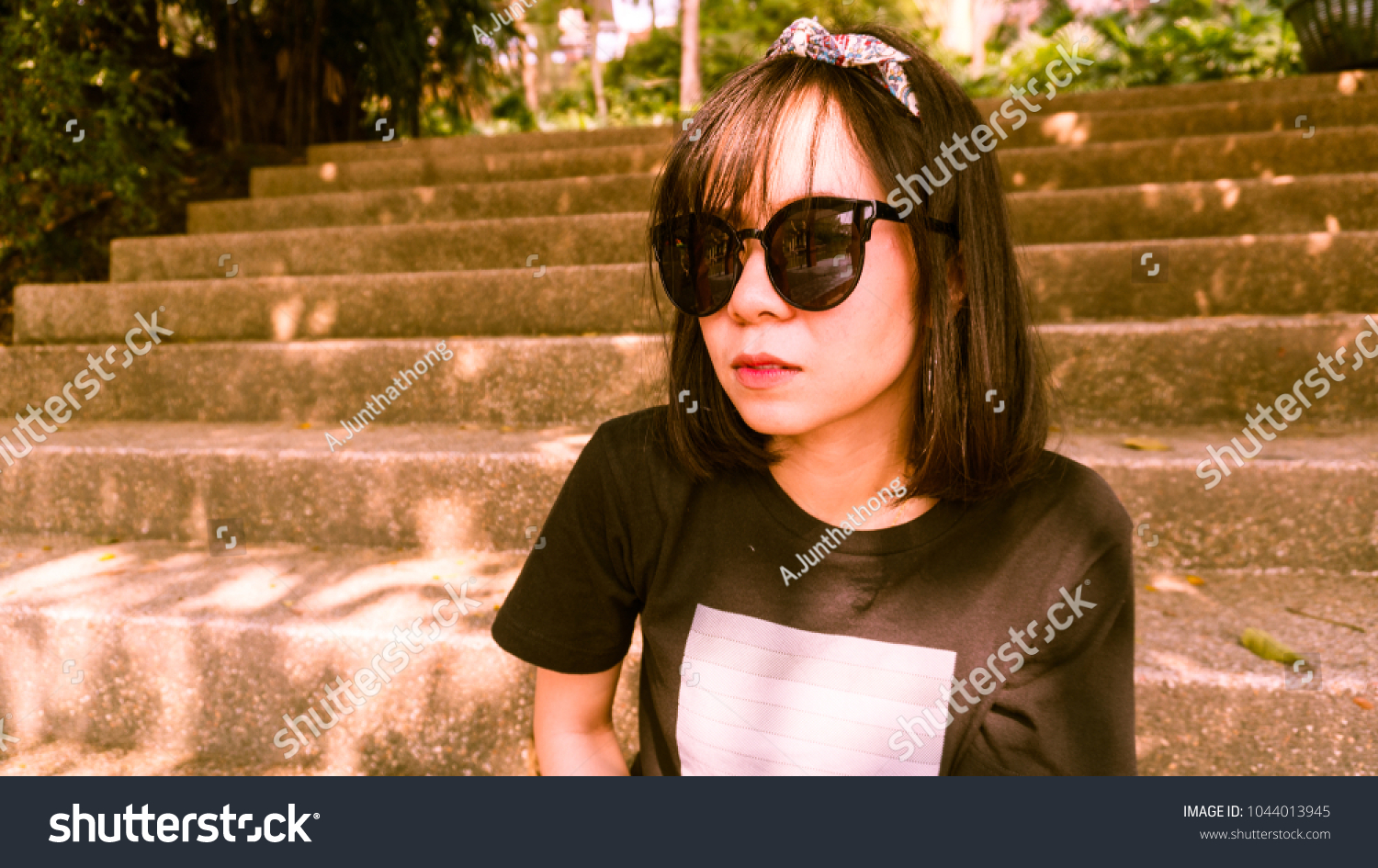 asian girls wearing sunglasses very cute stock photo (royalty free