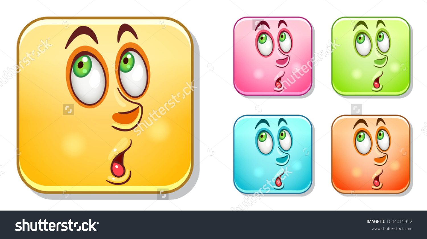 Surpised Male Emoji Face Emoticons Collection Stock Vector Royalty