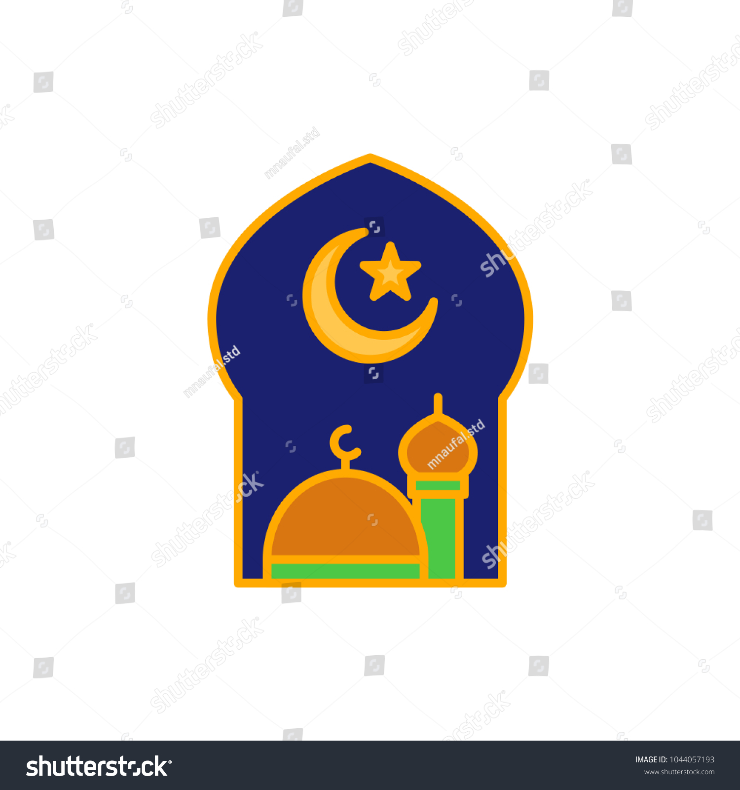 Great mosque crescent moon star islam stock vector 1044057193 great mosque with crescent moon and star for islam symbol simple monoline icon style for biocorpaavc Gallery