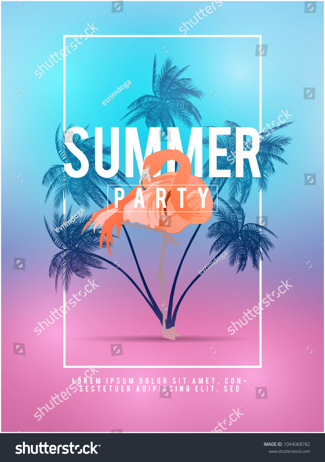 Summer california tumblr backgrounds set palms em vetor stock summer california tumblr backgrounds set with palms sky and sunset summer placard poster flyer stopboris Images