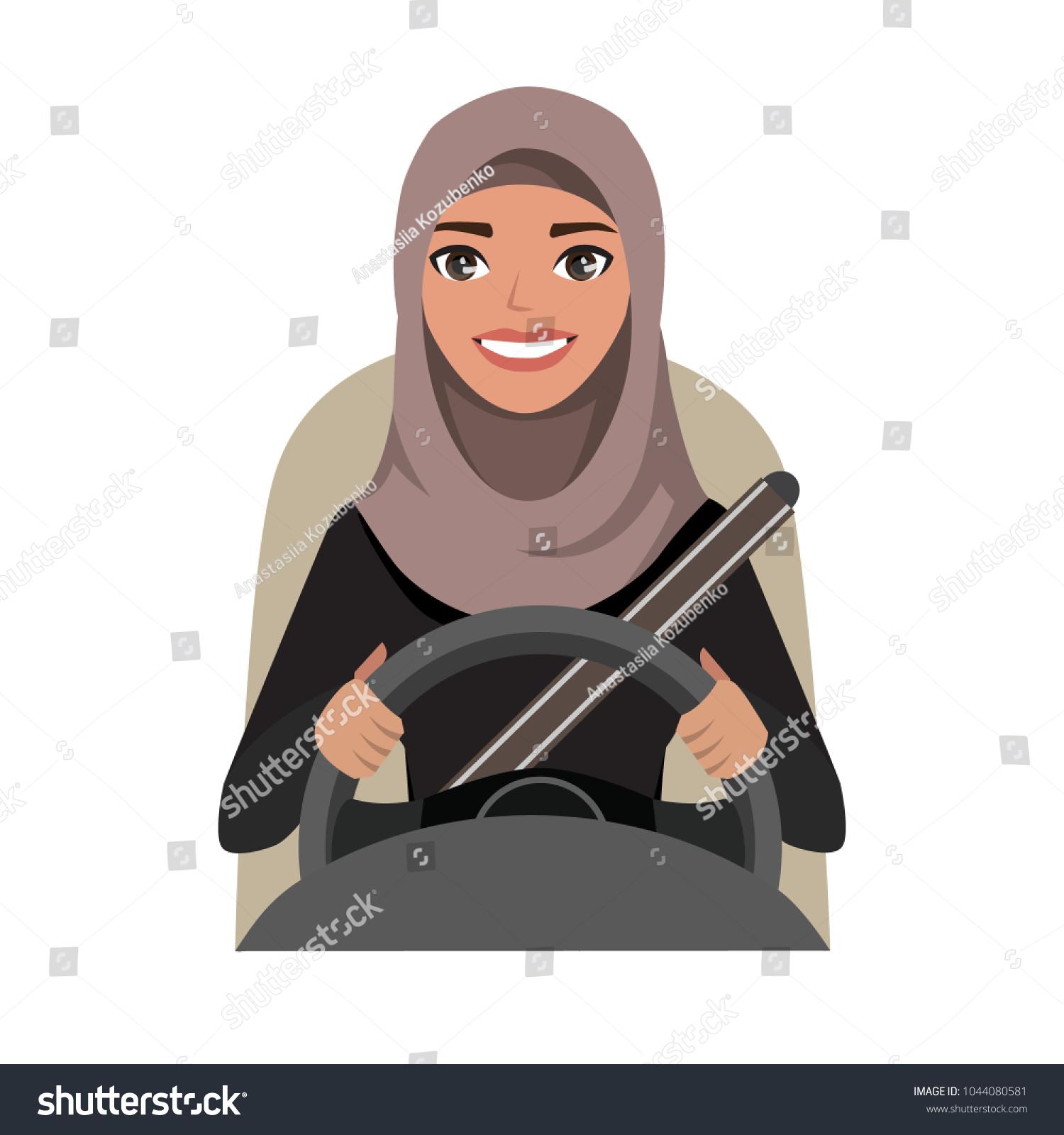 Arab businesswoman driving a car. Arab woman wearing hijab