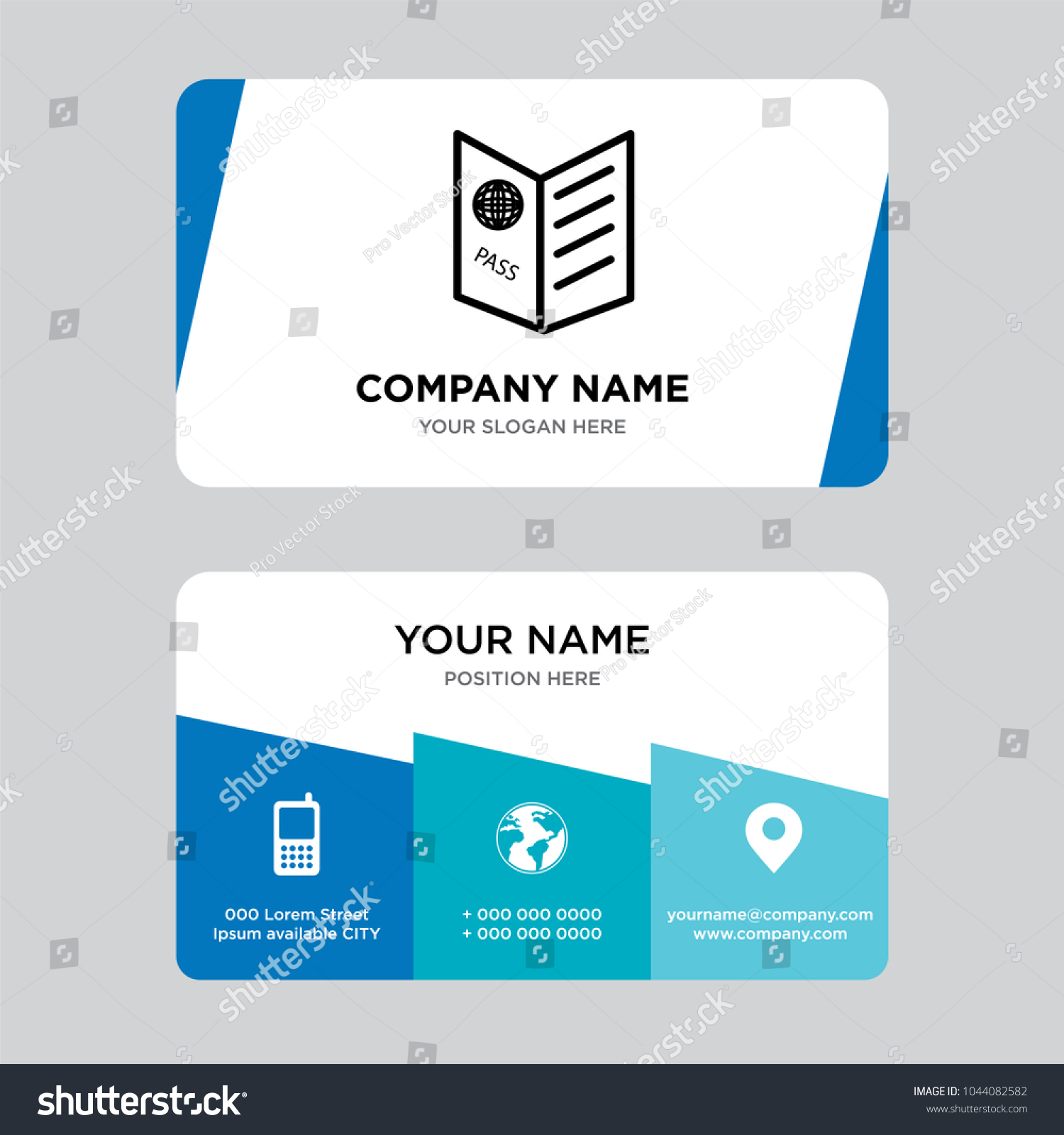 Passport Visa Business Card Design Template Stock Vector 1044082582 ...