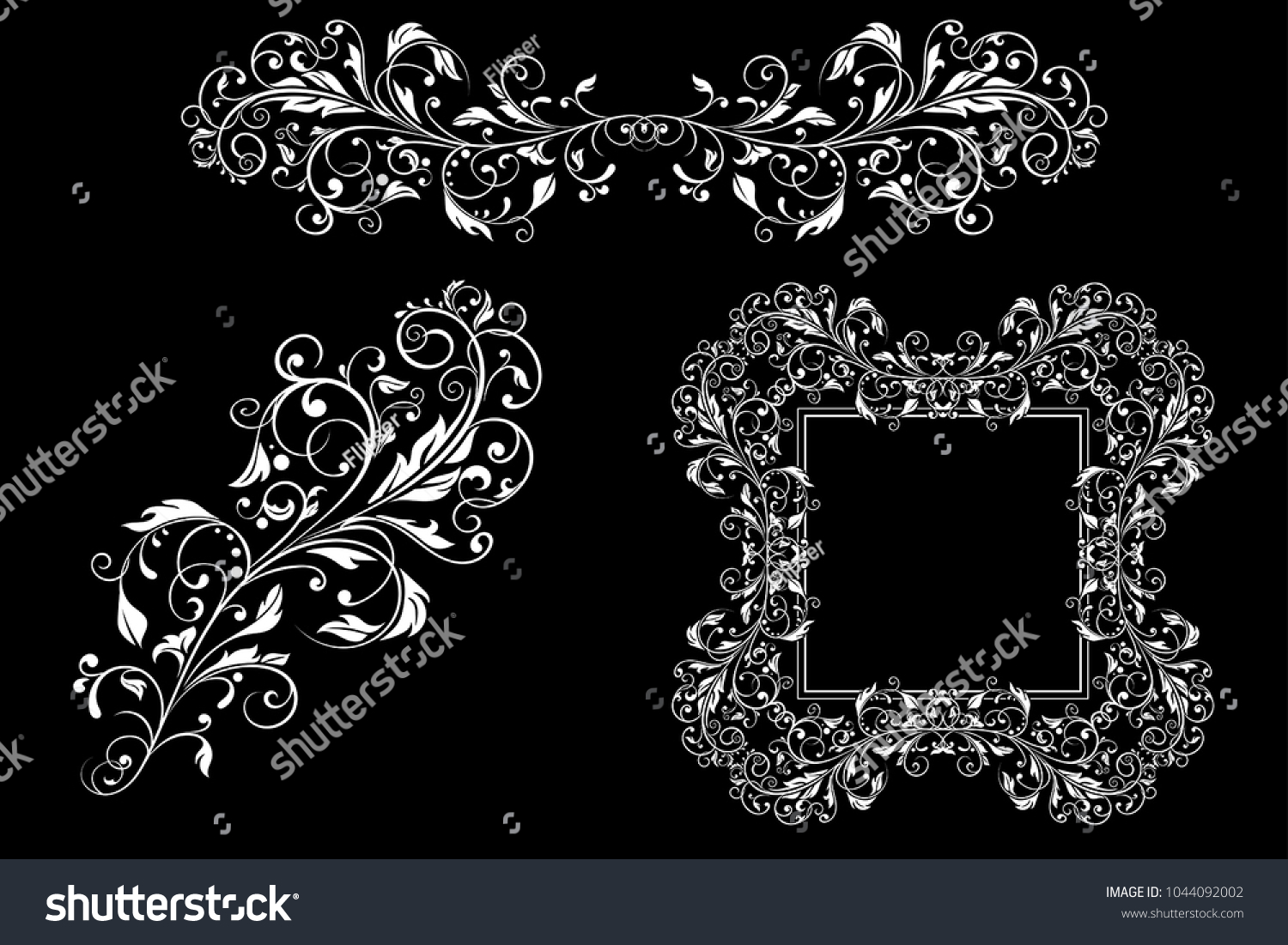 Floral Decorative Frame Ornaments Wedding Invitation Stock Vector ...