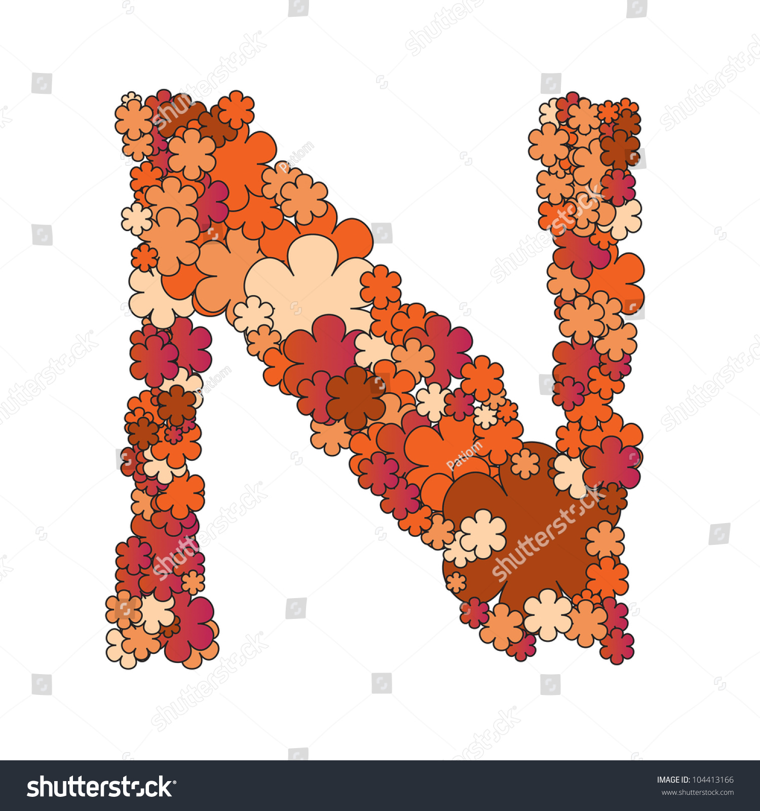 The Letter N Of A Beautiful Flower Alphabet Stock Photo ...