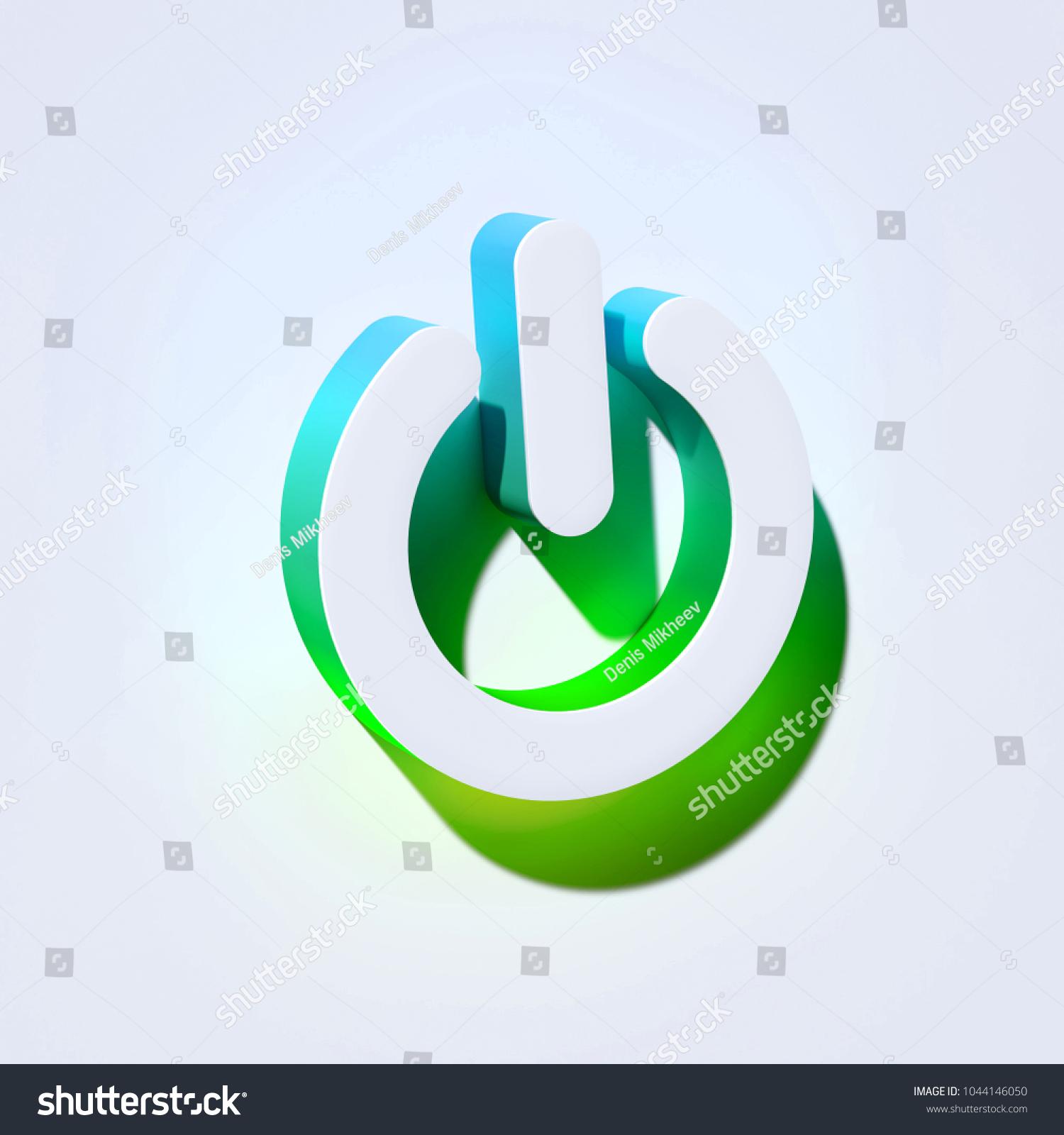 Power Off Icon On Aqua Wall Stock Illustration 1044146050 Shutterstock