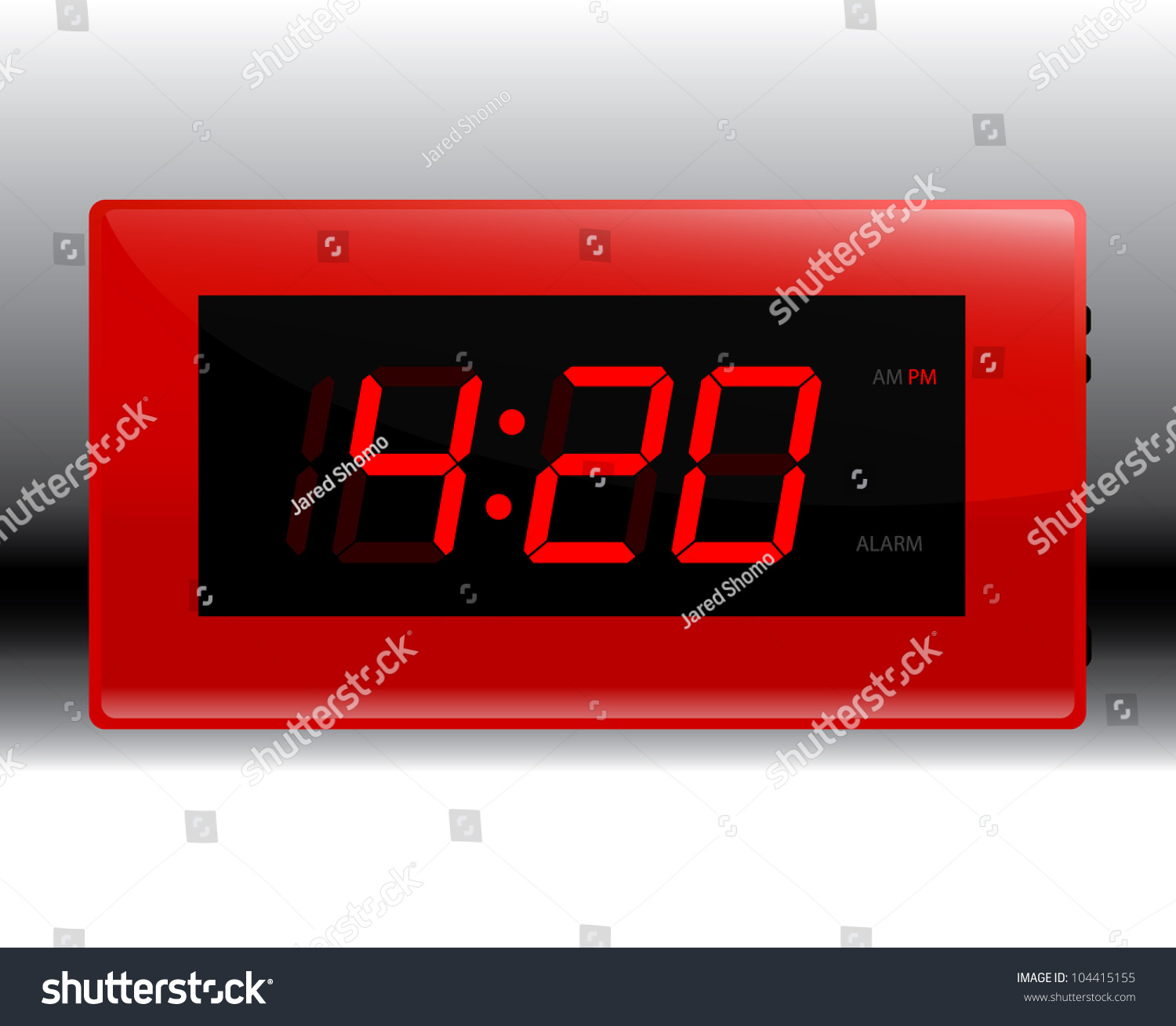 designer red digital alarm clock edit stock vector 104415155