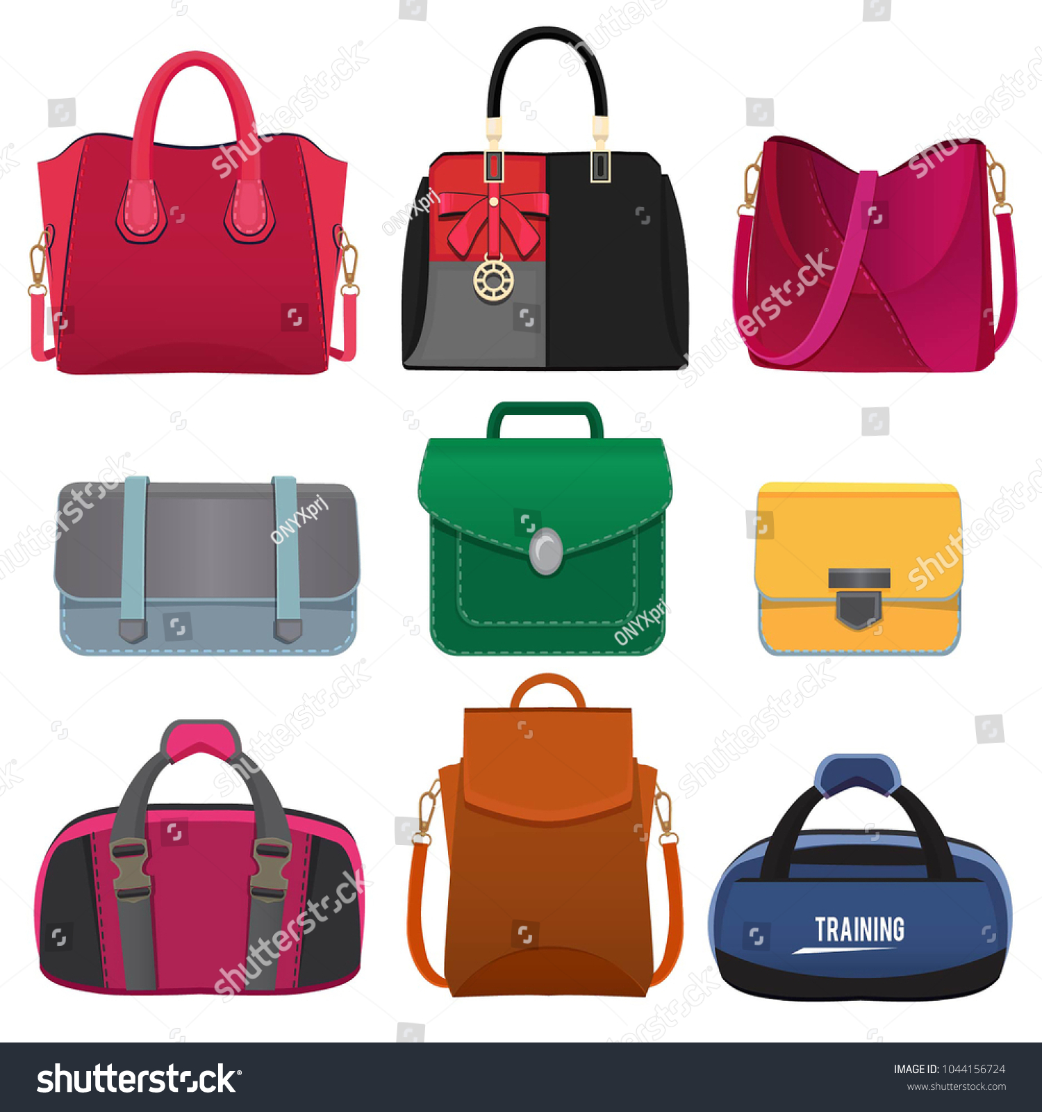 Beautiful handbags for women. Vector pictures set of fashion handbag and  package for woman illustration - Vector. bag ... 907133b539
