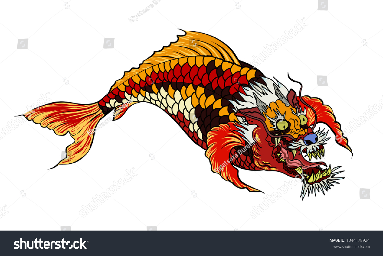 Hand Drawn Koi Fish Dragon Head Japanese Stock Vector 1044178924 ...