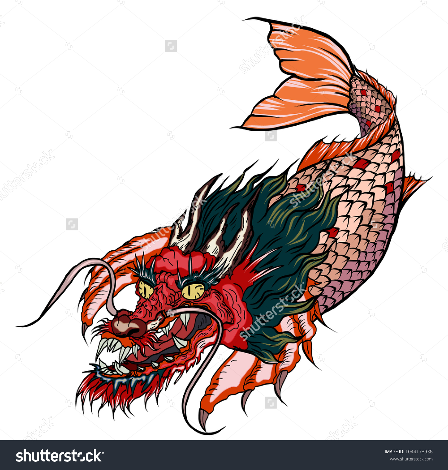 Hand Drawn Koi Fish Dragon Head Japanese Stock Vector 1044178936 ...