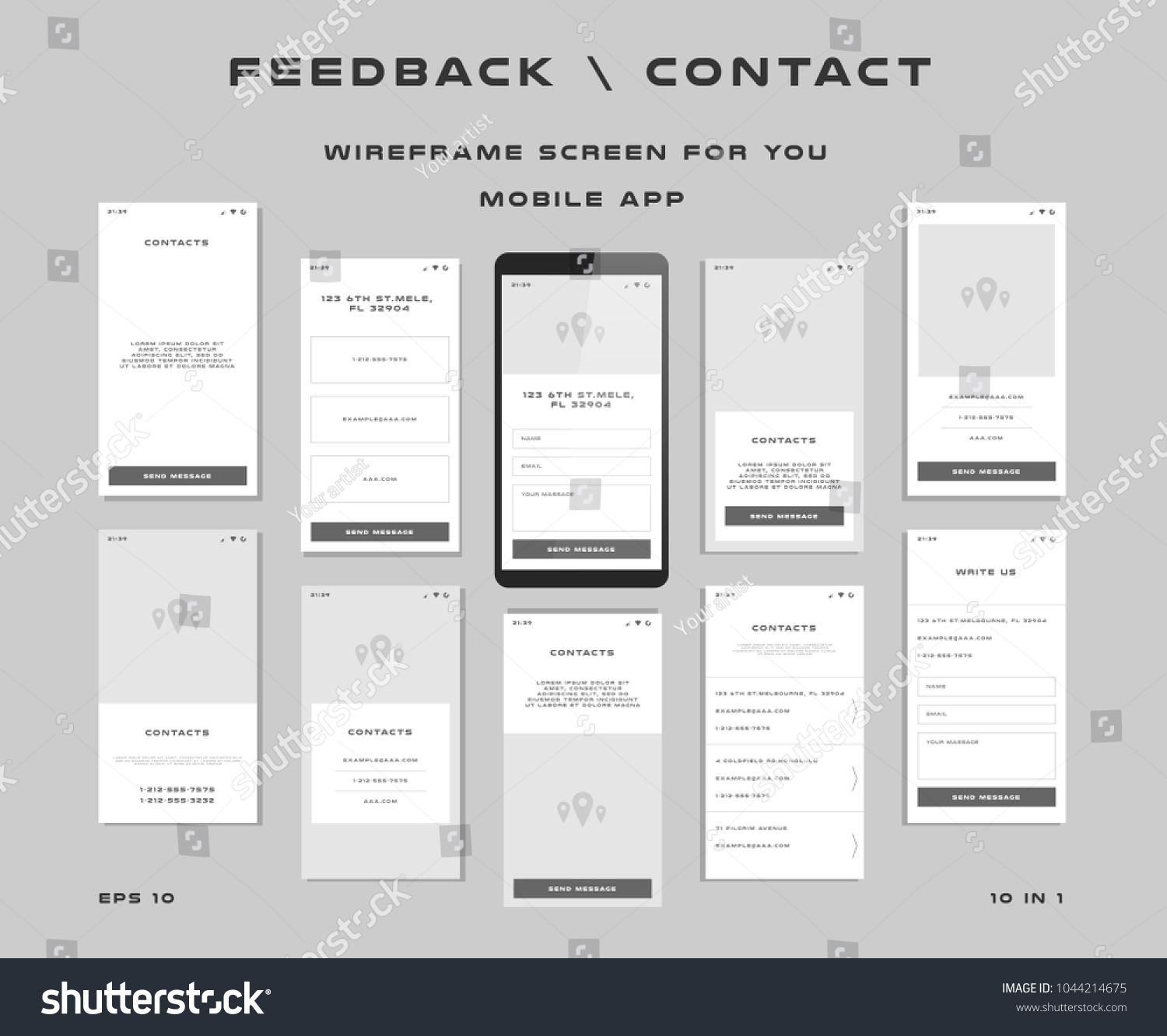 10 1 UI Kits Wireframes Screens Stock Vector 1044214675 - Shutterstock